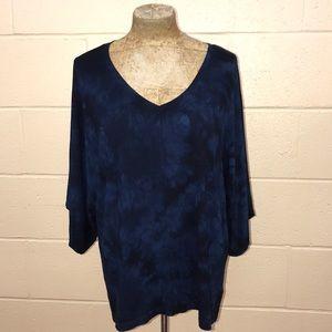 Blue tie-dye top with kimono sleeves